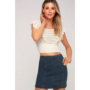 Just Right Dark Wash Denim Mini Skirt